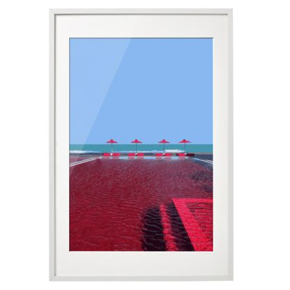 Limitierter Kunstdruck in blau und rot. Mit einem Echtholzrahmen gerahmt und säurefreien Schrägschnitt Passepartout.