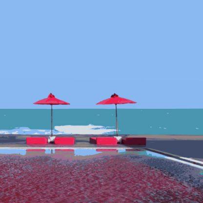 limitierter Kunstdruck in blau und rot. Mit einem Echtholzrahmen gerahmt und säurefreien Schrägschnitt Passepartout. 61x91 cm