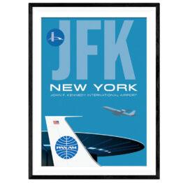 Posterdruck JFK Flughafen, Retroposter groß