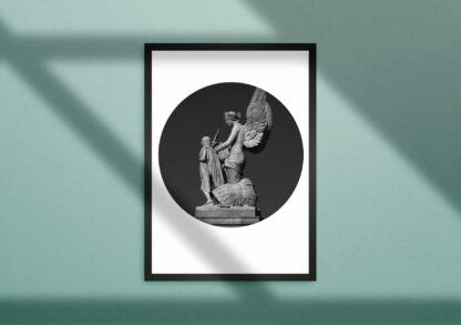 kunstdruck limitiert gerahmt mit rundem Passepartout