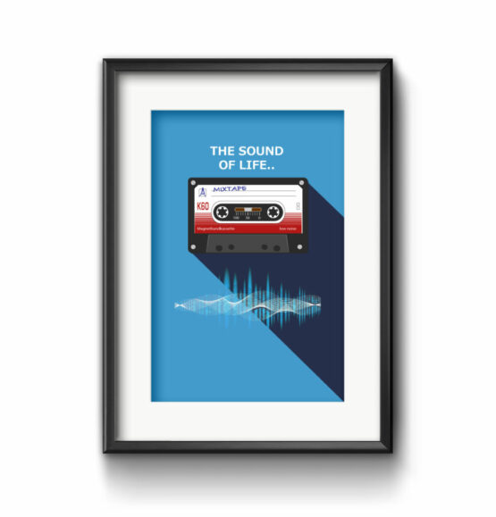 Audio Kassette Illustration 80 iger Style